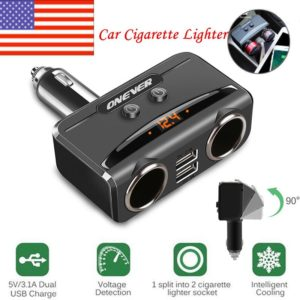 1 to 2 Cigarette Lighter Socket Splitter with Voltmeter LCD Display Dual USB 12V-24V Max 5V 3.1A Charger Power Adapter